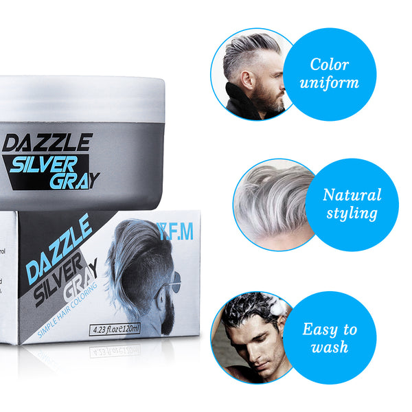 Temporary Silver Gray Hair Wax For Both Men & Woman, Easy to use, Long-Lasting & Looks Naturally Grey