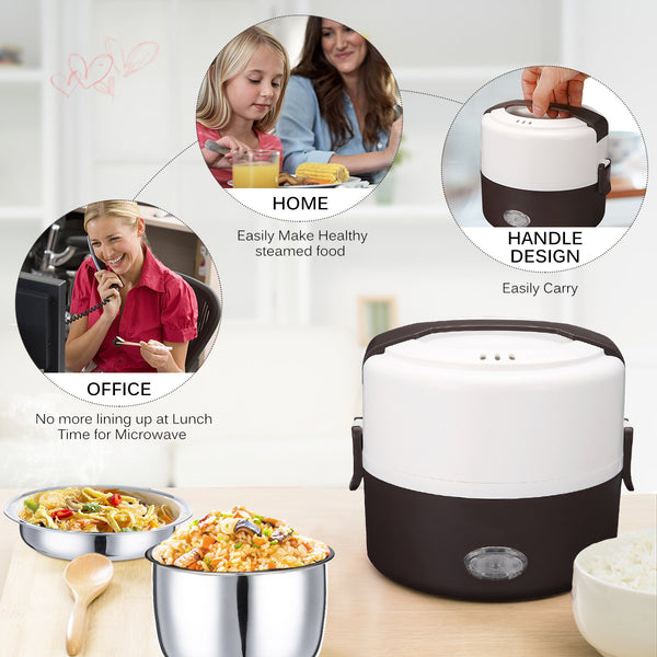 Electric Food Heater, 1.3L/44 oz Portable Lunch Box w/ Stainless Steel Bowl and Plate for Office/Home