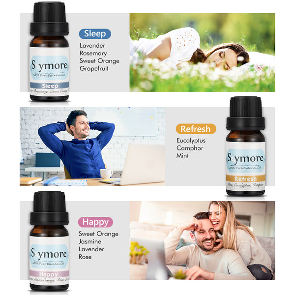Top 6 Essential Oil Blend Gift Set, for Aroma Diffuser, Ideal for Yoga, Workout Home/Office Relax