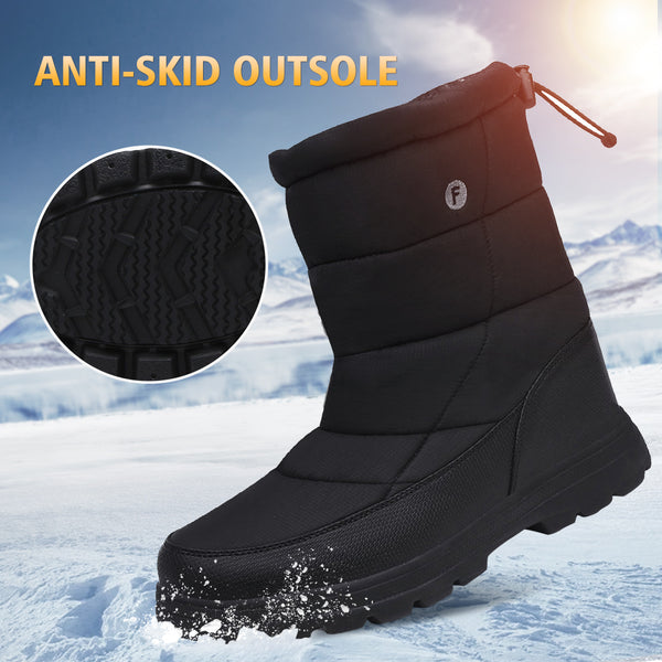 Gracosy Winter Warm Thickening Fur Lined Mid Calf Snow Boots Lightweight Drawstring Slip On Flat Snow Boots