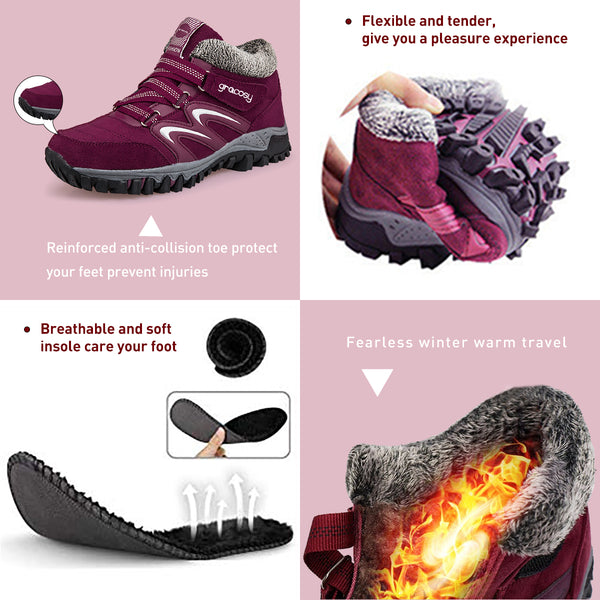 Gracosy Women Winter Hiking Sneakers Warm Thickening Fur Lining Lightweight Breathable Lace Up Sport Shoes