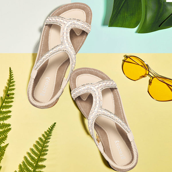 Gracosy Summer Women Sandals, Flats Flip Flops T-Strap Bohemian Sandals Elastic Slip On-Matte Colour