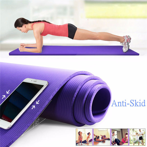 Portable Yoga Mat 10mm Thick Anti-slip Exercise Fitness Pilates Gym Mats with Rope