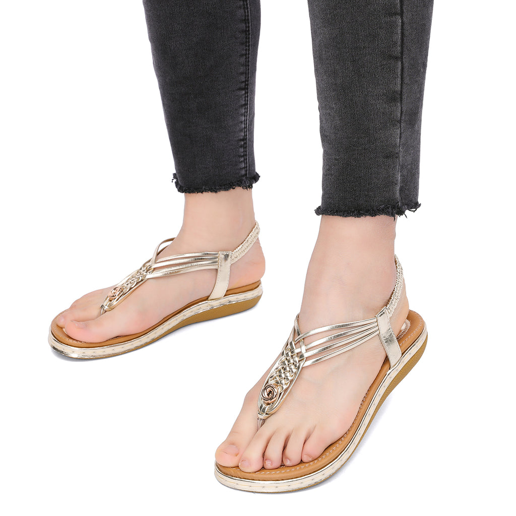 Flat Sandals Flip Flops Thongs Clip Toe Slip On Elastic T-Strap-9