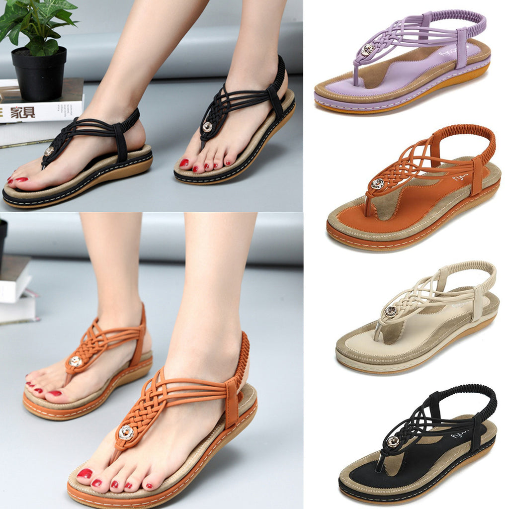 Flat Sandals Flip Flops Thongs Clip Toe Slip On Elastic T-Strap-1