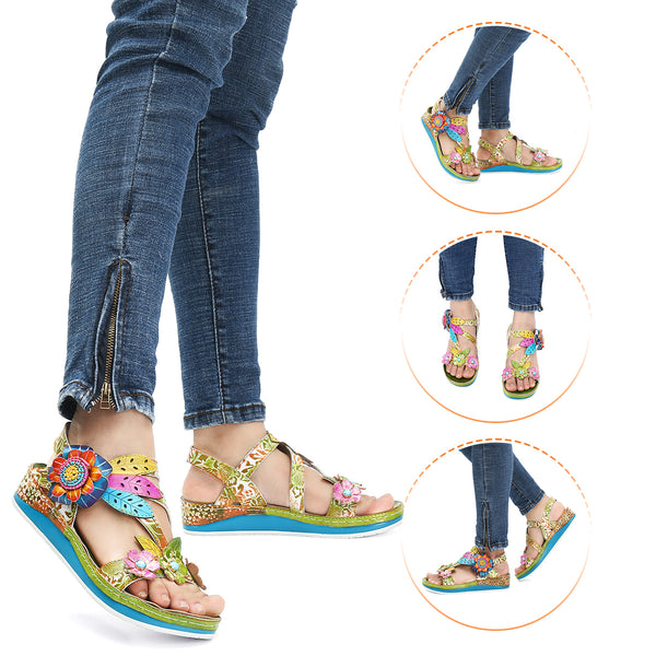 Flat Flower Splicing Sandals