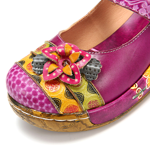 Gracosy Women Vintage Handmade Flower Splicing Platform Mule Clogs Sandals, Vintage Flower Wedge Spring Summer Sandals Loafers