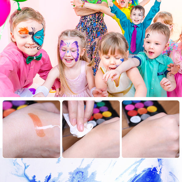 Face & Body Paint Kit for Both Children & Adults, 15 Colors & 1 Professor Art Brush, Safe Material, Non-Toxic, Full FDA Compliant