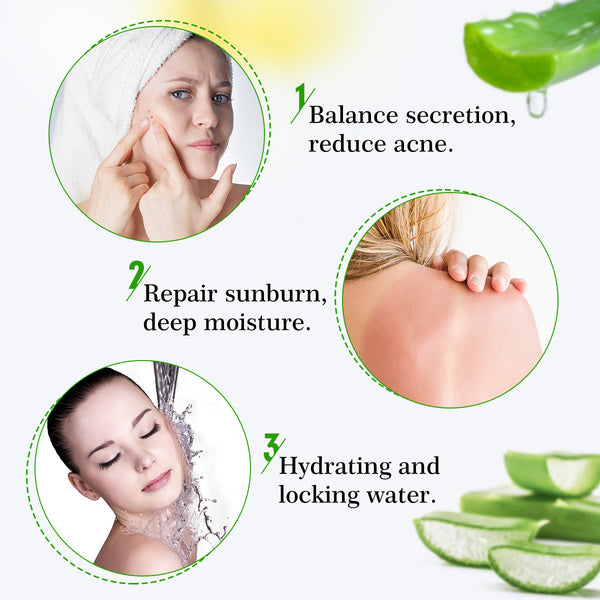 Natural Hydrating Pure Aloe Vera Gel, Soothing & Moisture for Clean, Sunburn, Dry Skin