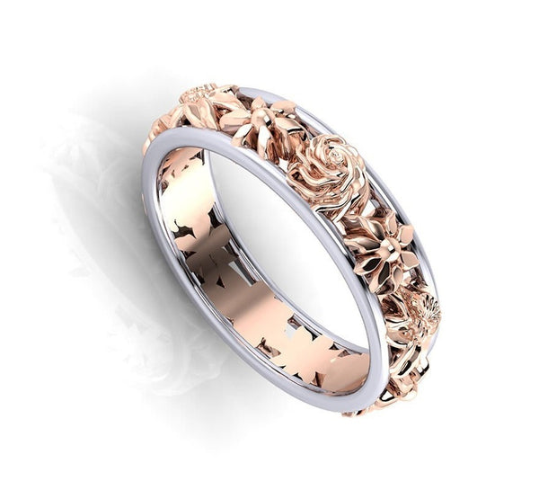 Double Layer Flower Rings