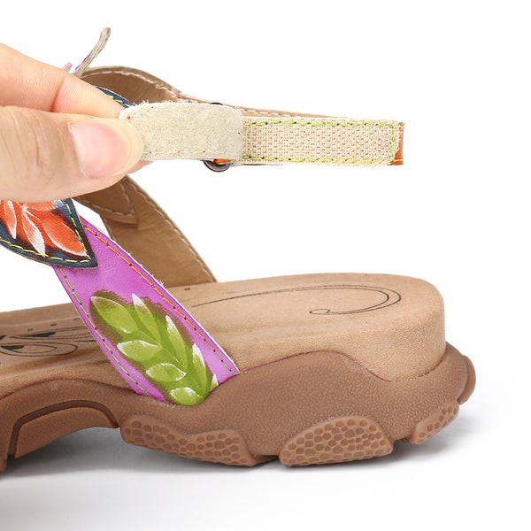 Gracocosy Summer Women Flower Splicing Flat Sandals, T-Strap Comfy Sport Sandals