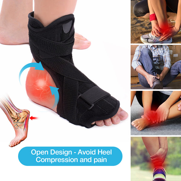 Plantar Fasciitis Night Splint, Drop Foot Orthotic Brace w/ Hard Spiky Massage Ball for Relief Pain