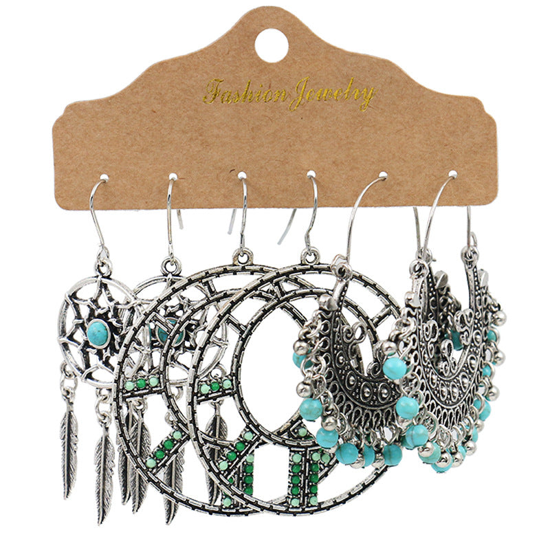 3 Pairs Bohemian Dream Catcher Tassel Earrings Set Vintage Ethnic Hollow Turquoise Water Drop Earrings