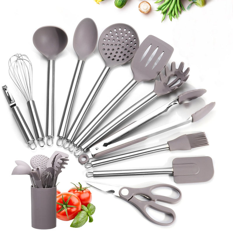 12PCS Kitchen Utensil Sets with Holder, Stainless Steel Handle Silicone Utensils, Heat-resistant BPA-free