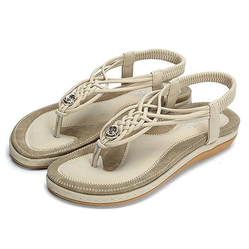 Flat Sandals Flip Flops Thongs Clip Toe Slip On Elastic T-Strap-Beige