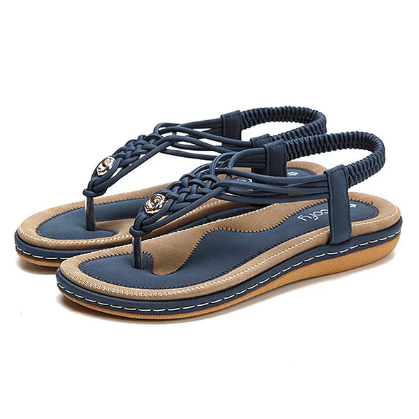 Flat Sandals Flip Flops Thongs Clip Toe Slip On Elastic T-Strap-Navy