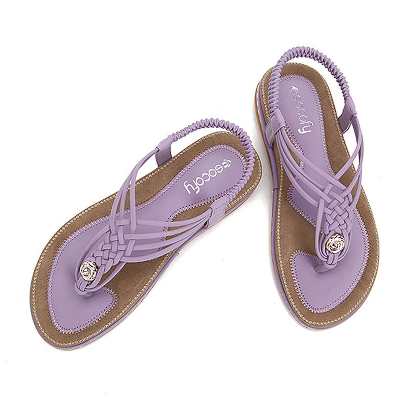 Flat Sandals Flip Flops Thongs Clip Toe Slip On Elastic T-Strap-purple