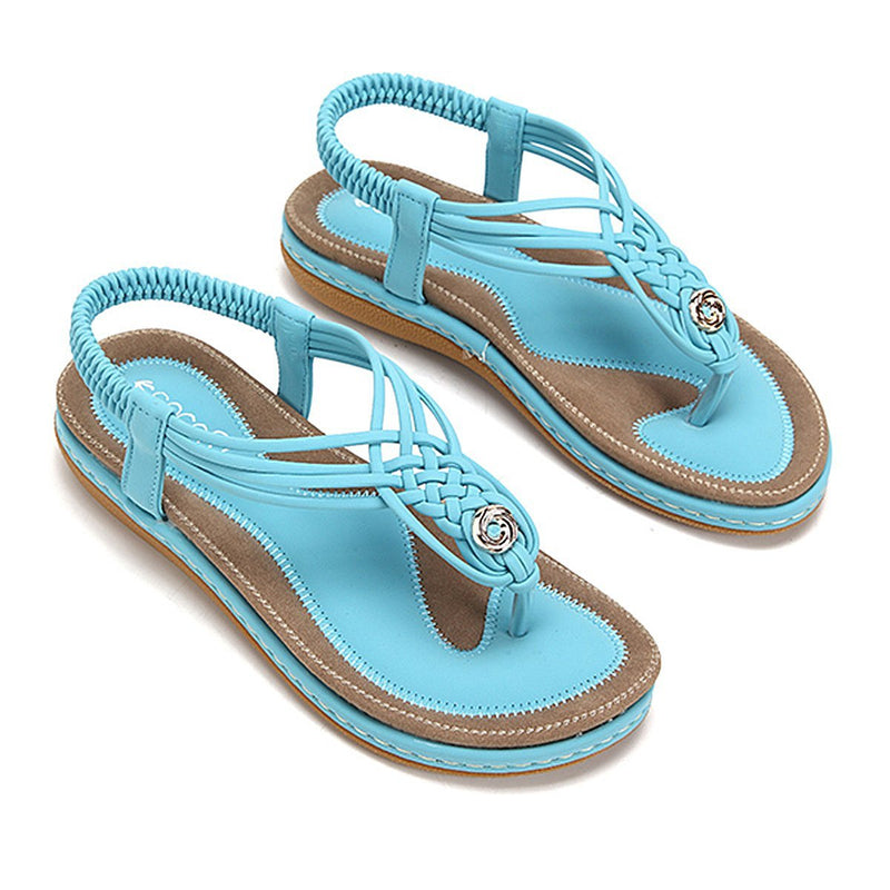 Flat Sandals Flip Flops Thongs Clip Toe Slip On Elastic T-Strap-Lake blue