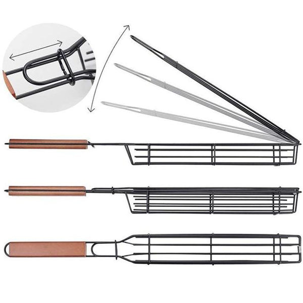 4PCS Barbecue Portable Non-stick Kabob Meat Grilling Baskets