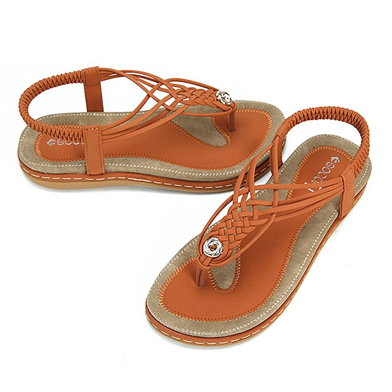 Flat Sandals Flip Flops Thongs Clip Toe Slip On Elastic T-Strap-Brown