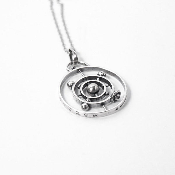 Astronomical Solar System Rotatable Sterling Silver Necklace-Luckyfine