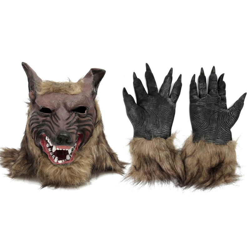 Latex Rubber Werewolf Cosplay Mask Wolf Head Hair Mask Gloves for Party Scary Halloween