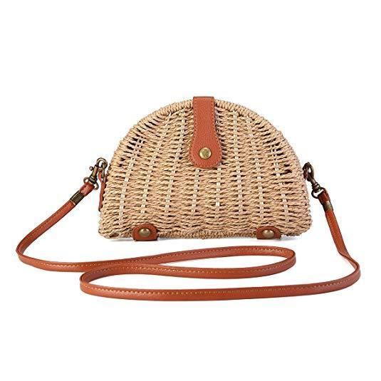 Crossbody Straw Bag-Luckyfine