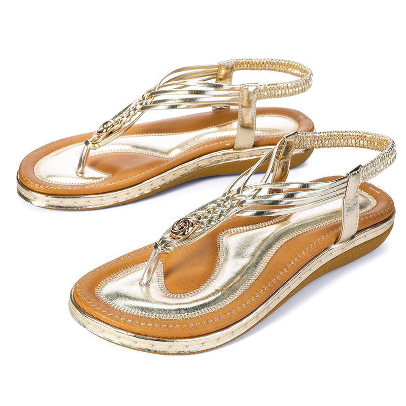 Flat Sandals Flip Flops Thongs Clip Toe Slip On Elastic T-Strap-gold