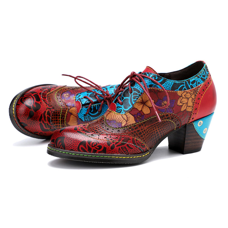Gracosy Handmade Leather Pumps for Women, Lace-up High Heels Round Toe Sewing Retro Ladies Shoes