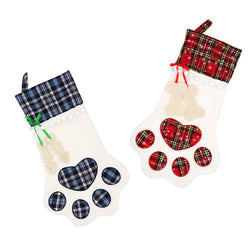 Red+Blue Paws Plaid Stockings Gift Bag for Christmas Decor Pet Paw  Socks Xmas Tree Hanging Pendant