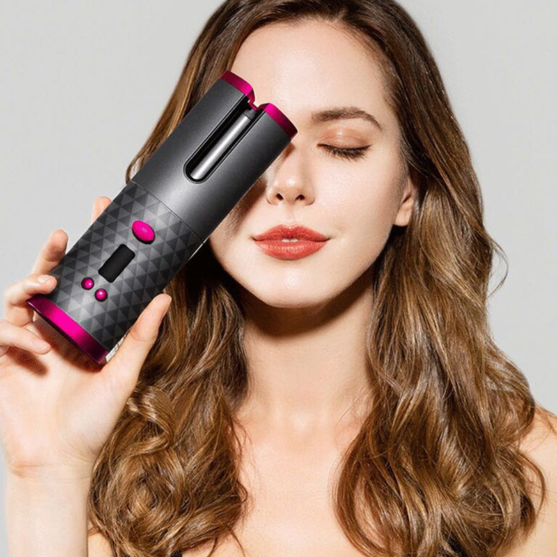Wireless Ceramic Auto Hair Curler Iron Hair Waver Tongs LCD Display USB Cordless Air Curler