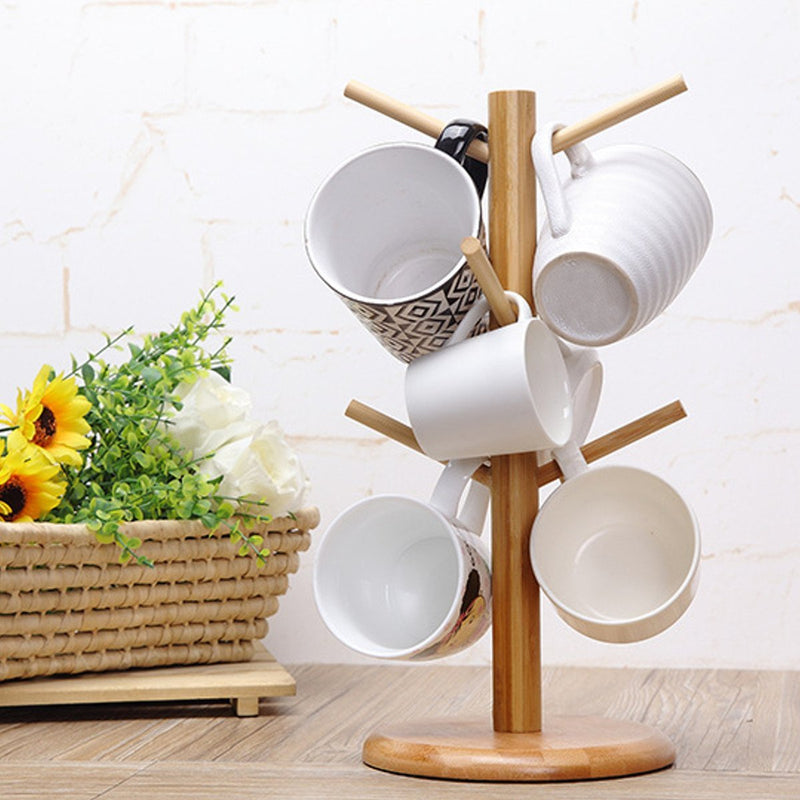 Wood Mug Rack Holder Tree Cup Storage Stand, Removable Bamboo Mug Stand