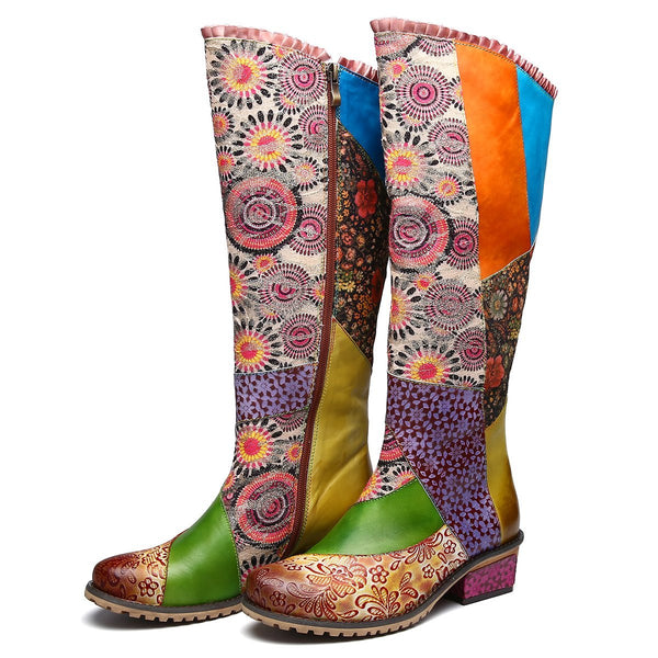 Gracosy Women Bohemian Splicing Flower Pattern Leather Knee High Boots for Autumn Winter, Flat Zipper Riding Boots
