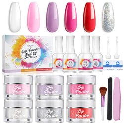 Luckyfine 6 Colors Dip Powder Nail Set for Manicure DIY Nail Art At Home, No Nail UV/LED Lamp Needed