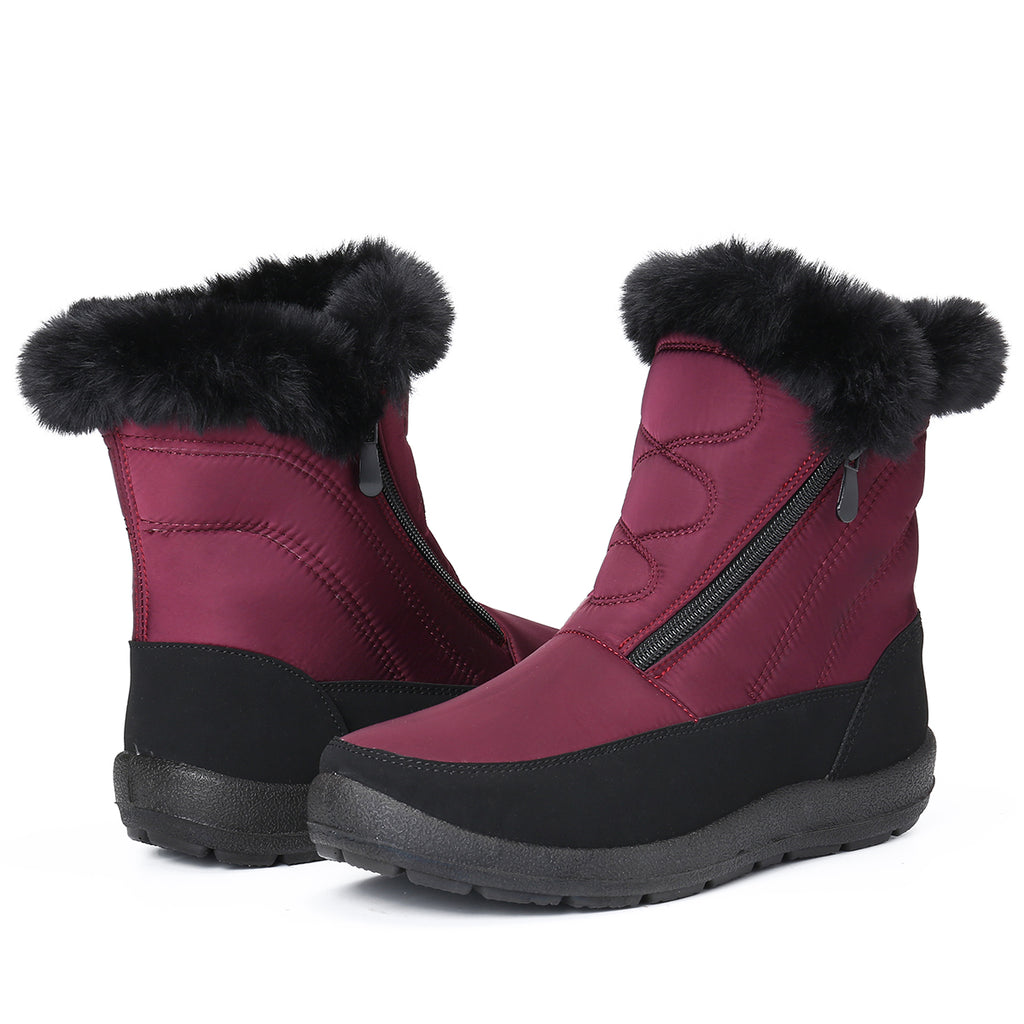 Gracosy Snow Boots Women Size, Winter Fur Lined Waterproof Warm Mid-Calf Boots Lightweight Thickening Flat Zip Ankle Boots