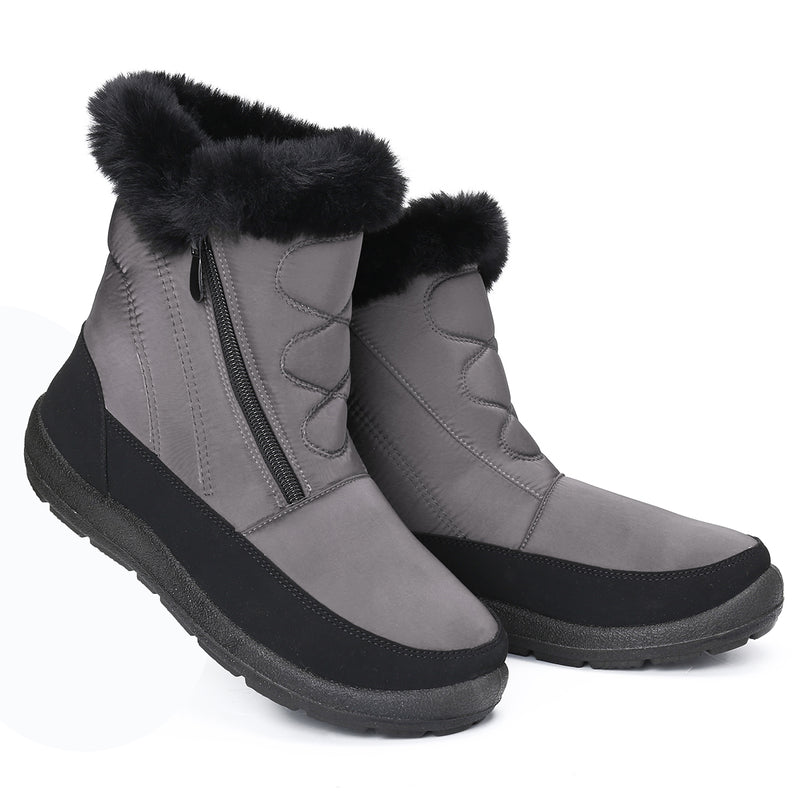 Gracosy Snow Boots, Winter Fur Lined Waterproof Warm Mid-Calf Boots Lightweight Thickening Flat Zip Ankle Boots