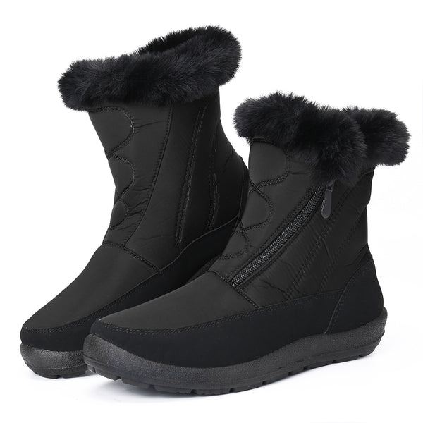Gracosy Snow Boots Men Size, Winter Fur Lined Waterproof Warm Mid-Calf Boots Lightweight Thickening Flat Zip Ankle Boots