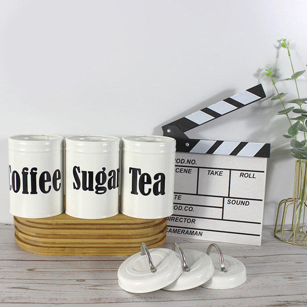 Kitchen Storage Canister 3PCS/4PCS Set, for Coffee Sugar Tea & Biscuit-Luckyfine