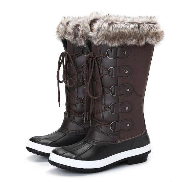 Gracosy Winter Women Warm Fur foderato Mid-Calf Snow Boots Pizzo Flat Hiking Walking Snow Boots