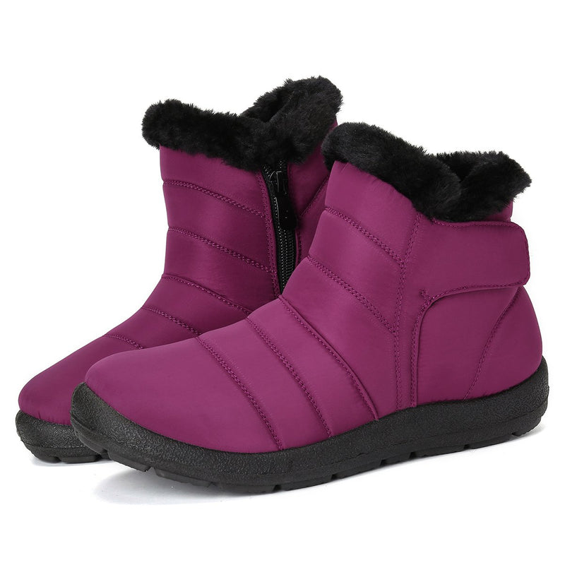 Gracosy Women Warm Fur Lining Hook Loop Snow Boots, Winter Warm Magic Tape Ankle Boots, Waterproof & Thickening Fur