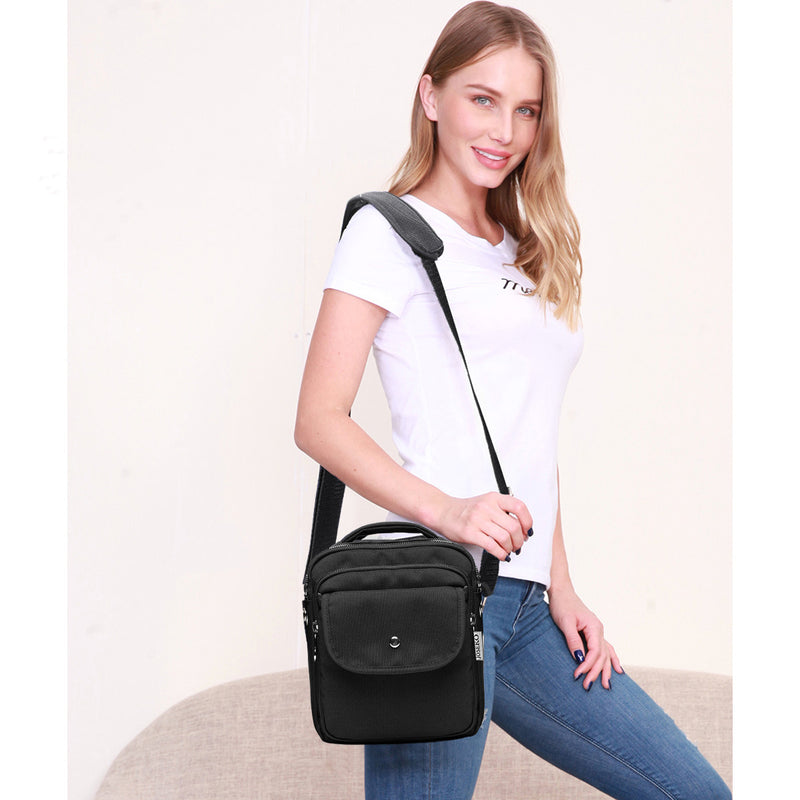 Femmes Multi-Pocket Small Nylon Crossbody Bag Shoulder Bag Organizer Lightweight Messenger