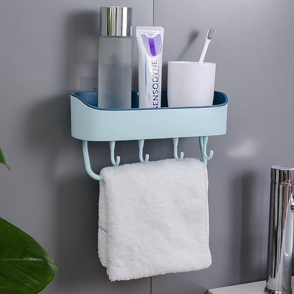 No Drilling Multifunctional Plastic Towel Rack Lotion Storage Holder Organizer for Bathroom & Kitchen with 4 Hooks