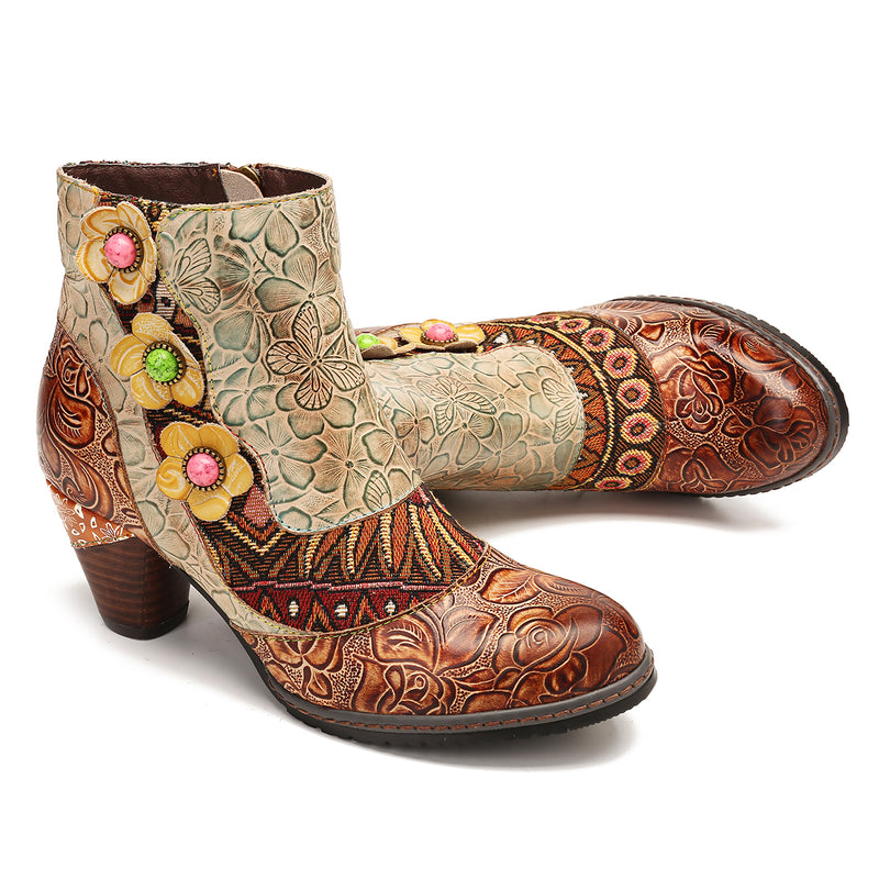 Gracosy Women Vintage Floral Splicing Embroidery Leather Ankle Boots, Bohemian Block Heel Zipper Booties