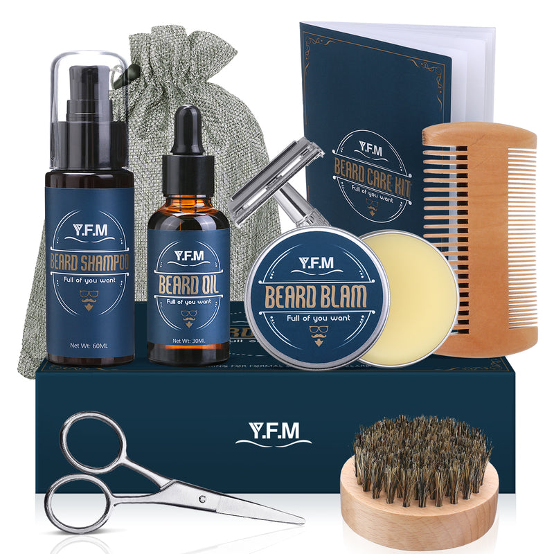 Y.F.M 8 In 1 Beard Care Kit, Beard Shampoo, Beard Oil & Beard Balm, Ideal for Father's Day Gift