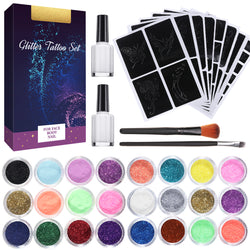 Glitter Tattoo Kit With 24 Glitter, 108 Uniquely Tattoo Stencils for Face & Body, Children & Adults