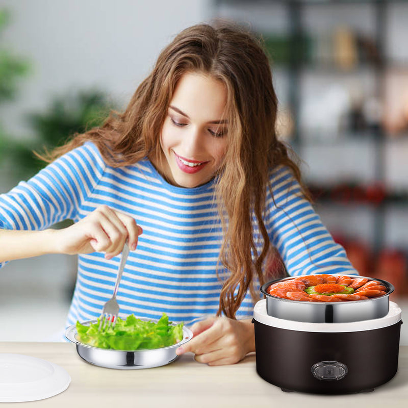 Electric Food Heater Food Steamer, 1.3L/44 oz Portable w/ Stainless Steel Bowl & Plate for Office/Home