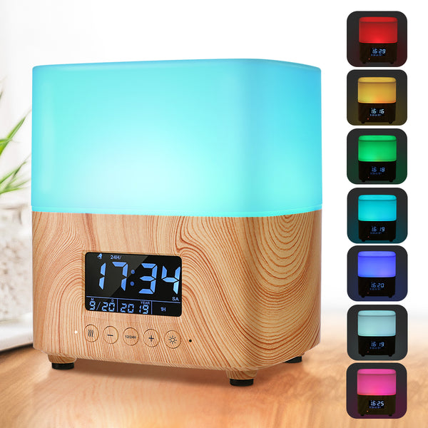 Essential Oil Diffuser/Humidifier, 300ML Aromatherapy Diffuser with Digital Clock, 7 Color Changing LED Light