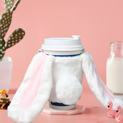 Insulated Hot/Cold Beverage Reusable Cup Sleeve, Cute Bunny Water Bottle Hot Drinks Carrier Bag