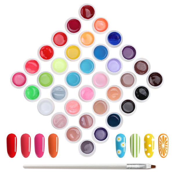 36 Colors UV Nail Gel, Semi-permanent Gel Nail, DIY Nail Art Nail Glue Kit Gift Set