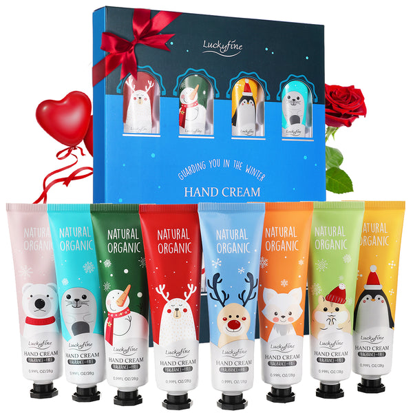 Luckyfine 8PCS Natural Organic Hand Cream Gift Set, Moisturizing & Hydrating Handcream Set